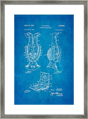 Winchell Inverted Novelty Mask Patent Art 1964 Blueprint Framed Print by Ian Monk