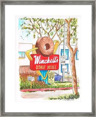 Winchells Donut House Vintage Sigh In Santa Monica Blvd - Los Angeles - California Framed Print