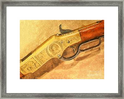 Winchester 1866 Yellow Boy Rifle Framed Print by Odon Czintos