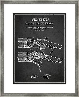 Winchester Firearm Patent Drawing From 1877 - Dark Framed Print by Aged Pixel