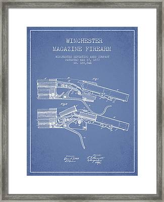 Winchester Firearm Patent Drawing From 1877 - Light Blue Framed Print