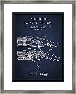 Winchester Firearm Patent Drawing From 1877 - Navy Blue Framed Print by Aged Pixel