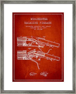 Winchester Firearm Patent Drawing From 1877 - Red Framed Print by Aged Pixel