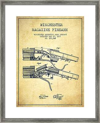 Winchester Firearm Patent Drawing From 1877 - Vintage Framed Print
