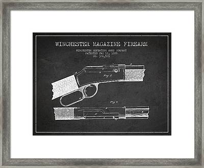 Winchester Firearm Patent Drawing From 1888- Dark Framed Print by Aged Pixel
