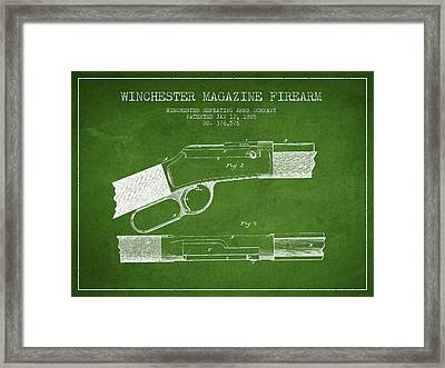 Winchester Firearm Patent Drawing From 1888- Green Framed Print