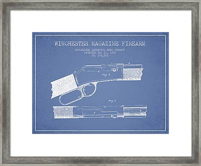 Winchester Firearm Patent Drawing From 1888- Light Blue Framed Print