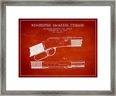 Winchester Firearm Patent Drawing From 1888- Red Framed Print