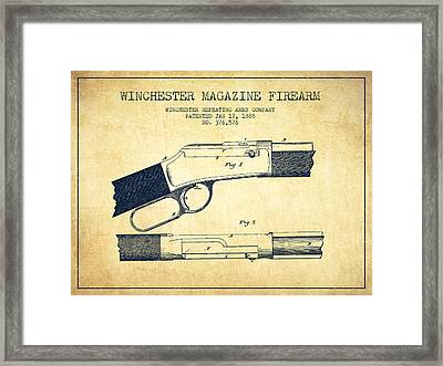 Winchester Firearm Patent Drawing From 1888- Vintage Framed Print by Aged Pixel