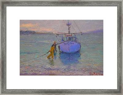 Winching In. Days End Framed Print