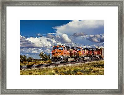 Wind And Rail Framed Print by Fred Larson