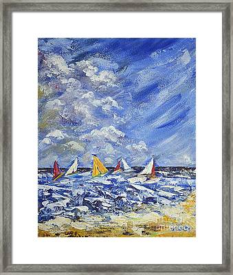 Framed Print featuring the painting Wind And Sails by Kathleen Pio