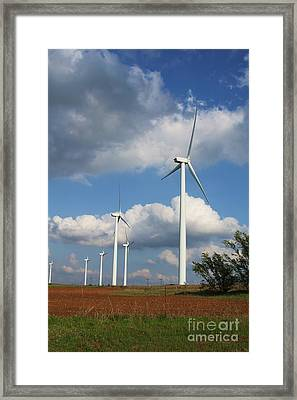 Framed Print featuring the photograph Wind Farm And Red Dirt by Jim McCain