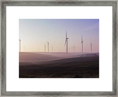 Wind Farm At Dawn Framed Print