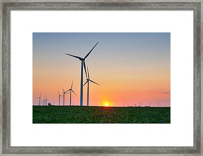 Wind Farm Sunset Framed Print