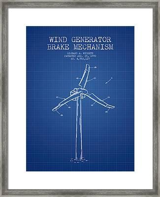 Wind Generator Break Mechanism Patent From 1990 - Blueprint Framed Print