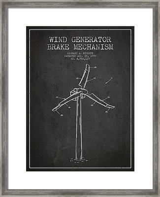 Wind Generator Break Mechanism Patent From 1990 - Dark Framed Print