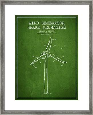Wind Generator Break Mechanism Patent From 1990 - Green Framed Print