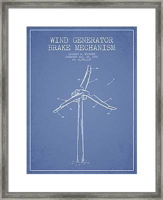 Wind Generator Break Mechanism Patent From 1990 - Light Blue Framed Print