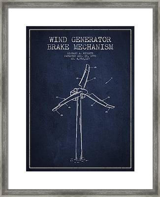 Wind Generator Break Mechanism Patent From 1990 - Navy Blue Framed Print