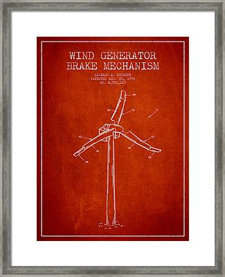 Wind Generator Break Mechanism Patent From 1990 - Red Framed Print