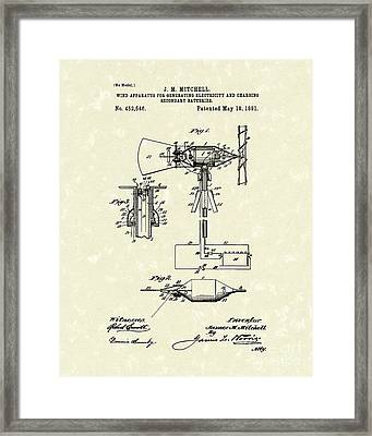 Wind Mill 1891 Patent Art Framed Print by Prior Art Design