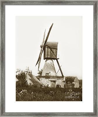 Framed Print featuring the photograph Wind Mill In France 1900 Historical Photo by California Views Mr Pat Hathaway Archives