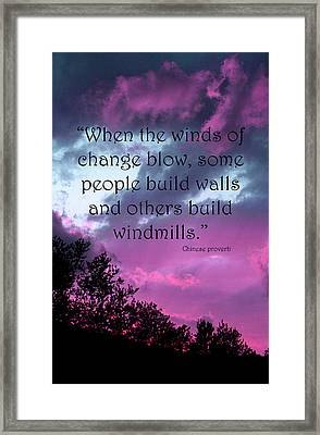 Wind Of Change Framed Print by Angela Bruno