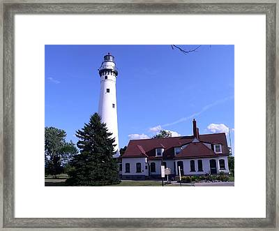 Wind Point Lighthouse Framed Print by Cathi Williams