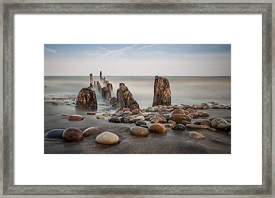 Wind Point Pebbles Framed Print