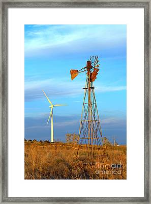 Wind Power  Then And Now Framed Print by Jim McCain