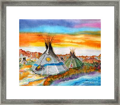 Wind River Encampment Silk Painting Framed Print by Anderson R Moore