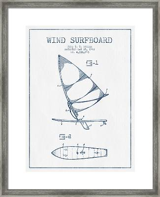 Wind Surfboard Patent Drawing From 1982  -  Blue Ink Framed Print