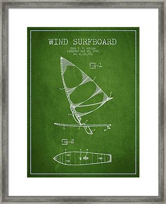 Wind Surfboard Patent Drawing From 1982 - Green Framed Print by Aged Pixel