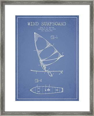 Wind Surfboard Patent Drawing From 1982 - Light Blue Framed Print by Aged Pixel