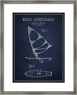 Wind Surfboard Patent Drawing From 1982 - Navy Blue Framed Print by Aged Pixel