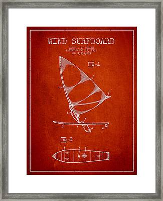 Wind Surfboard Patent Drawing From 1982 - Red Framed Print by Aged Pixel