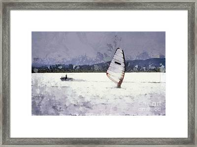Wind Surfers On The Lake Framed Print by Odon Czintos