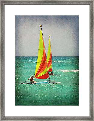 Wind Surfing Framed Print by Lorella  Schoales