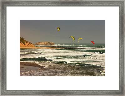 Wind Surfing Santa Cruz Coast Framed Print by Tom Norring