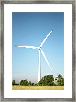 Wind Turbine And Blue Sky Framed Print by Jesper Klausen / Science Photo Library