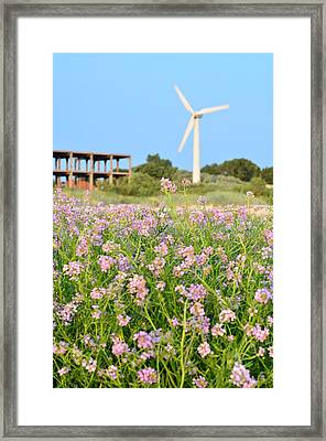 Wind Turbine And Flowers Framed Print by Gynt