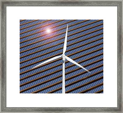 Wind Turbine And Solar Panels Framed Print