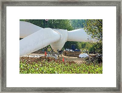 Wind Turbine Assembly Framed Print by Jim West