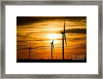 Wind Turbine Farm Picture Indiana Sunrise Framed Print by Paul Velgos
