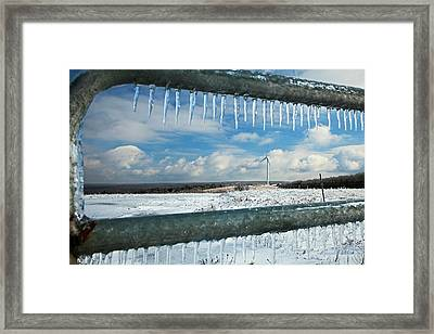Wind Turbine In Winter Framed Print