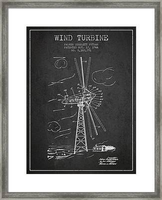 Wind Turbine Patent From 1944 - Dark Framed Print by Aged Pixel
