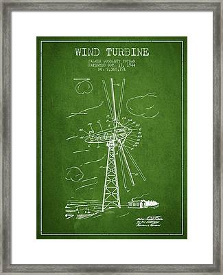 Wind Turbine Patent From 1944 - Green Framed Print