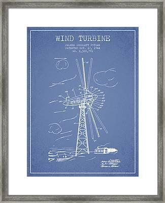 Wind Turbine Patent From 1944 - Light Blue Framed Print