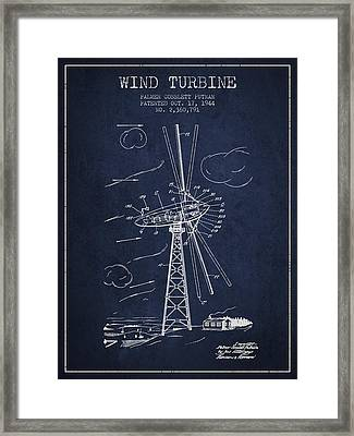 Wind Turbine Patent From 1944 - Navy Blue Framed Print